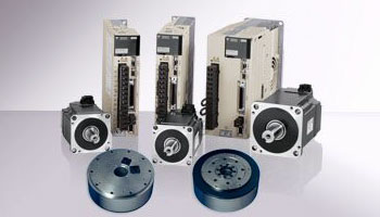 Image of multiple machine controllers, rotary motors and servomotors