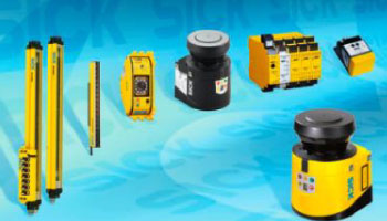 Image of yellow safety laser scanners, encoders, relays, controllers, and light curtains