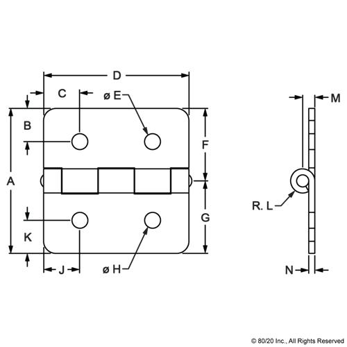 10 Series 4 Hole Aluminum Hinge 2086 80//20 Inc